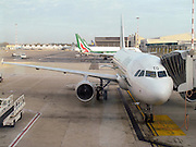Alitalia, Passenger plane on the ground at at Linate airport, Milan, Italy