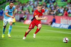 February 9, 2019 - Melbourne, VIC, U.S. - MELBOURNE, AUSTRALIA - February 09 : Florin Berenguer-Bohrer of Melbourne City  and Scott Galloway of Adelaide United  contest the ball during round 18 of the Hyundai A-League Series between Melbourne City and Adelaide United on February 9 2019, at AAMI Park in Melbourne, Australia. (Photo by Jason Heidrich/Icon Sportswire) (Credit Image: © Jason Heidrich/Icon SMI via ZUMA Press)