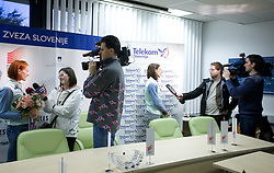 Sonja Roman and Marija Sestak interviewed by journalists at welcome press conference after European Athletics Indoor Championships Torino 2009, AZS, Ljubljana, Slovenia, on March 9, 2009. (Photo by Vid Ponikvar / Sportida)