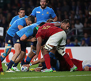 The Italians were camped on the French try line at one stage but could not score during the Rugby World Cup Pool D match between France and Italy at Twickenham, Richmond, United Kingdom on 19 September 2015. Photo by Matthew Redman.
