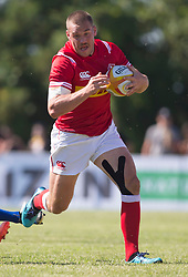 June 16, 2018 - Ottawa, ON, U.S. - OTTAWA, ON - JUNE 16: Nick Blevins (12 Centre ) of Canada runs the ball against Russia in the Canada versus Russia international Rugby Union action on June 16, 2018, at Twin Elms Rugby Park in Ottawa, Canada. Russia won the game 43-20. (Photo by Sean Burges/Icon Sportswire) (Credit Image: © Sean Burges/Icon SMI via ZUMA Press)