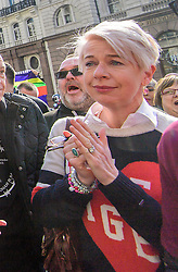 © Licensed to London News Pictures.28/03/2017.London, UK. Daily Mail Journalist KATIE HOPKINS wipes a tear form her eye at the announcement, outside the Royal Courts of Justice in London, where a judge reduced the sentence for Sgt Blackman's manslaughter charge, meaning he will be free within weeks..Photo credit: Ben Cawthra/LNP