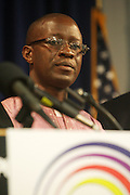 September 19, 2012- Queens, New York:  Former Prisoner Amadou Scattred Janneh at Jesse Jackson's Press Conference as a free man after being held as a prisoner in the Gambia, West Africa. Former Prisoner Amadou Scattred Janneh, a former Professor at the University of Tennessee, who held dual US Citizenship with the Gambia, was serving a life sentence for Treason. In addition to him, Tamsir Jessah, a U.S Citizen and former U.S. Military Veteran with dual citizenship with the West African nation was also serving a twenty-year sentence for Treason. With a face-to-face appeal by Rev. Jesse L. Jackson, with the Yayha Jammeh, President of The Gambia an agreement was made to release the two American citizens into Rev. Jackson's custody who allow them to return to the United States with Jackson Tuesday night.  The two men returned to the U.S. by plane with Rev. Jackson from The Gambia to joyfully grateful waiting family members. In addition, President Jammeh has agreed to extend the moritorium on executions indefinitely, marking a significant gain for Human Rights in the West African Nation on September 19, 2012.(Terrence Jennings)