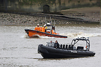 RNLI Royal National Lifeboat Institution E class lifeboat Hurley Burley E-07, Metropolitan Police Marine Unit Rigid Inflatable Boat (RIB), Emergency Services Exercise, Lambeth Reach River Thames, London UK, 23 October 2017, Photo by Richard Goldschmidt