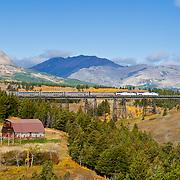 amtrak train crossing the two medicine bridge, blackfeet reservation, glacier national park, Montana
