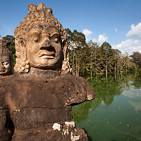 There are 54 giant statues on both sides of the road, leading to the south gate of Angkor Thom.