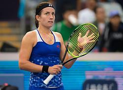 October 5, 2018 - Anastasija Sevastova of Latvia celebrates winning her quarter-final match at the 2018 China Open WTA Premier Mandatory tennis tournament (Credit Image: © AFP7 via ZUMA Wire)