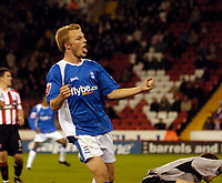 Photo: Jed Wee.<br /> Sheffield United v Birmingham City. Carling Cup. 24/10/2006.<br /> <br /> Birmingham's Sebastian Larsson celebrates after scoring their fourth goal.