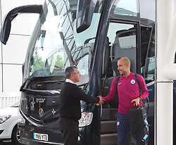 Pep Guardiola commits the ultimate sin of football team travel and forgets his passport. Pep got off the team bus and looked in his bag before getting back on the bus for 30 minutes while his passport was located and delivered in a chauffeur driven Mercedes Pep said sorry to the buse driver for keeping him waiting as the Manchester City team arrive at Manchester Airport as they jet for Iceland