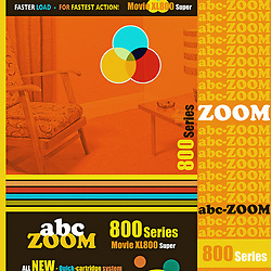 Home Movie Film Retro 8mm Packaging illustration with vintage mid century lounge chair and table in red