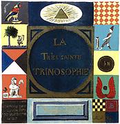 Title page of 'La Tres Sainte Trinosophie'. 18th century cabbalistic-alchemical manuscript attributed to Comte de Sainte-Germain, showing symbols summarising Hermetism