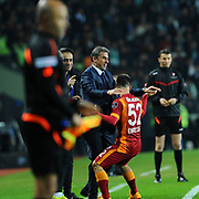 Galatasaray's Emre Colak celebrate his goal during their Turkish Super League soccer derby match Torku Konyaspor between Galatasaray at the Konya Buyuksehir Belediyesi Torku Arena at Selcuklu in Konya Turkey on Saturday, 13 December 2014. Photo by Kurtulus YILMAZ/TURKPIX