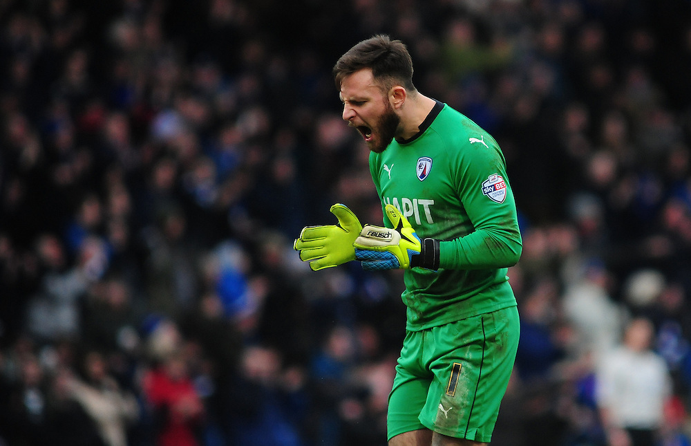 Chesterfield's Tommy Lee<br /> <br /> Photographer Chris Vaughan/CameraSport<br /> <br /> Football - The Football League Sky Bet League One - Chesterfield v Fleetwood Town - Saturday 28th February 2015 - Proact Stadium - Chesterfield<br /> <br /> © CameraSport - 43 Linden Ave. Countesthorpe. Leicester. England. LE8 5PG - Tel: +44 (0) 116 277 4147 - admin@camerasport.com - www.camerasport.com