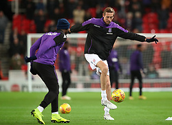 """Stoke City's Peter Crouch warms up before the Sky Bet Championship match at the bet365 Stadium, Stoke. PRESS ASSOCIATION Photo. Picture date: Wednesday November 28, 2018. See PA story SOCCER Stoke. Photo credit should read: Tim Goode/PA Wire. RESTRICTIONS: EDITORIAL USE ONLY No use with unauthorised audio, video, data, fixture lists, club/league logos or """"live"""" services. Online in-match use limited to 120 images, no video emulation. No use in betting, games or single club/league/player publications."""