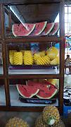 Watermelon and pineapple, The market, Papeete, Tahiti, French Polynesia