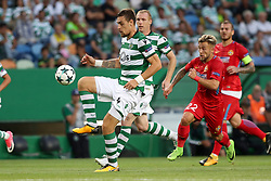 August 15, 2017 - Lisbon, Portugal - Sporting's defender Sebastian Coates from Uruguay vies with Steaua's forward Catalin Golofca (R ) during the UEFA Champions League play-offs first leg football match between Sporting CP and FC Steaua Bucuresti at the Alvalade stadium in Lisbon, Portugal on August 15, 2017. Photo: Pedro Fiuza (Credit Image: © Pedro Fiuza via ZUMA Wire)