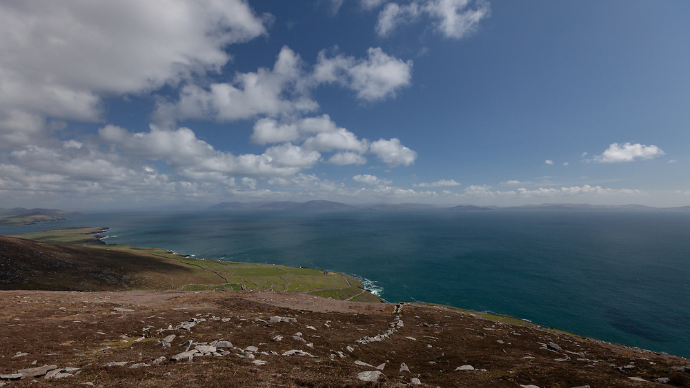 The sweeping vistas seen from high above the Atlantic Ocean on the hills of the Dingle Peninsula in Ireland.