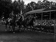 """05/08/1960<br /> 05/08/1960<br /> 05 August 1960<br /> R.D.S Horse Show Dublin (Friday). Aga Khan Trophy. The Irish Team. (l-r): Captain W.A. Ringrose on """"Loch an Easpaig""""; Captain R.E. Molony on """"Loch Garman""""; Lieut. K.P. Griffin on """"Cluain Meala"""" and Lieut. E.P. O'Donohoe on """"Cill an Fhail""""."""