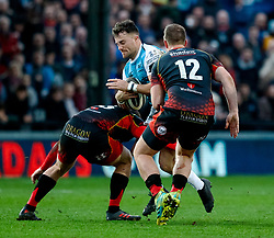 Luke Morgan of Ospreys under pressure from Jarryd Sage of Dragons<br /> <br /> Photographer Simon King/Replay Images<br /> <br /> Guinness PRO14 Round 12 - Dragons v Ospreys - Sunday 30th December 2018 - Rodney Parade - Newport<br /> <br /> World Copyright © Replay Images . All rights reserved. info@replayimages.co.uk - http://replayimages.co.uk