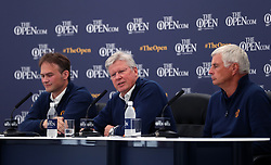 Executive Director of the Championships at The R&A, Johnnie Cole-Hamilton (left), Chairman of the Championship Committee Clive Brown (right) and Chief Executive of the R&A Martin Slumbers (centre) during preview day four of The Open Championship 2018 at Carnoustie Golf Links, Angus.