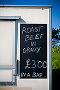 A roast beef and gravy bap sign at a roadside burger van on the 5th June 2008 in South West England in the United Kingdom.