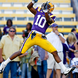 October 16, 2010; Baton Rouge, LA, USA; LSU Tigers wide receiver Russell Shepard (10) during warm ups prior to kickoff against the McNeese State Cowboys at Tiger Stadium. LSU defeated McNeese State 32-10. Mandatory Credit: Derick E. Hingle