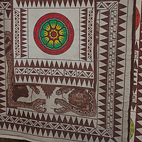 Bora Indians of the Amazon make bark cloth from palm leaves, which they use for both clothing and artworks, such as this one, depicting sacred anacondas.