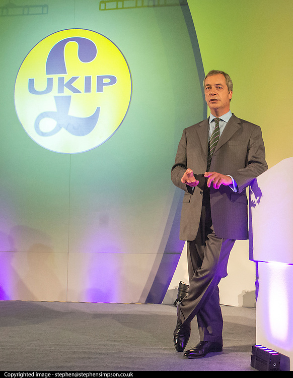 © Licensed to London News Pictures. 26/09/2014. Doncaster, UK. Leader of UKIP Nigel Farage delivers his leaders speech.  The UKIP conference at Doncaster Racecourse Friday 26th September 2014. Photo credit : Stephen Simpson/LNP