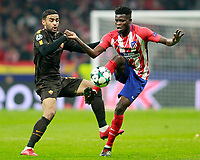 Atletico de Madrid's Thomas Partey (r) and AS Roma's Maxime Gonalons during Champions League 2017/2018, Group C, match 5. November 22,2017. (ALTERPHOTOS/Acero)