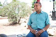 Former Alpine mayor Avinash Rangra photographed during a Trans Pecos Pipeline protest in Alpine, Texas on June 19, 2015. (Cooper Neill for The Texas Tribune)