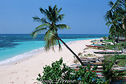 Fishing boats line the beach on Malapascua Island, central Philippines, Vizcayan Sea, Western Pacific Ocean