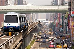 Elevated mass transit railway and urban street in Taipei Taiwan