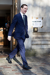 © Licensed to London News Pictures. 05/05/2016. LONDON, UK.  Chancellor, GEORGE OSBORNE leaving after casting an election vote in the London elections to elect a the new Mayor of London and London Assembly members at Westminster Methodist Central Hall this morning.  Photo credit: Vickie Flores/LNP