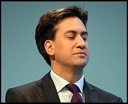The Labour Leader Ed Miliband closes his eyes on stage as he listens to The Leader of the Scottish Labour Party Leader Johann Lamont on Day one of the Labour Party Conference at the Brighton Conference Centre, Brighton, United Kingdom. Sunday, 22nd September 2013. Picture by Andrew Parsons / i-Images
