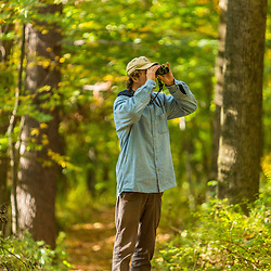 A young man birdwatching in a forest in Amesbury, Massachusetts.