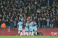 Yaya Toure of Manchester City (2nd right) celebrates with teammates after scoring his sides 4th goal from a penalty. Premier league match, West Ham Utd v Manchester city at the London Stadium, Queen Elizabeth Olympic Park in London on Wednesday 1st February 2017.<br /> pic by John Patrick Fletcher, Andrew Orchard sports photography.