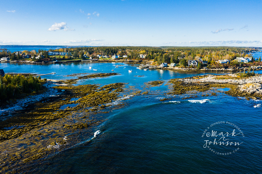 Aerial view of Cape Newagen, Maine, New England, USA
