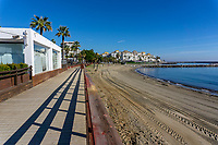 Blue skies, mild temperatures and emply beaches make Puerto Banus, Malaga, Spain, a terrific winter destination. December, 2018, 201812100124<br />