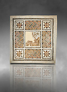 Pictures of a geometric Roman mosaics with strap work and cruciform flowers and in the centre a damaged depiction of a running deer, from the ancient Roman city of Thysdrus, Jilani Guirat area. 3rd century AD. El Djem Archaeological Museum, El Djem, Tunisia. Against a grey background .<br /> <br /> If you prefer to buy from our ALAMY PHOTO LIBRARY Collection visit : https://www.alamy.com/portfolio/paul-williams-funkystock/roman-mosaic.html . Type - El Djem - into the LOWER SEARCH WITHIN GALLERY box. Refine search by adding background colour, place, museum etc<br /> <br /> Visit our ROMAN MOSAIC PHOTO COLLECTIONS for more photos to download as wall art prints https://funkystock.photoshelter.com/gallery-collection/Roman-Mosaics-Art-Pictures-Images/C0000LcfNel7FpLI