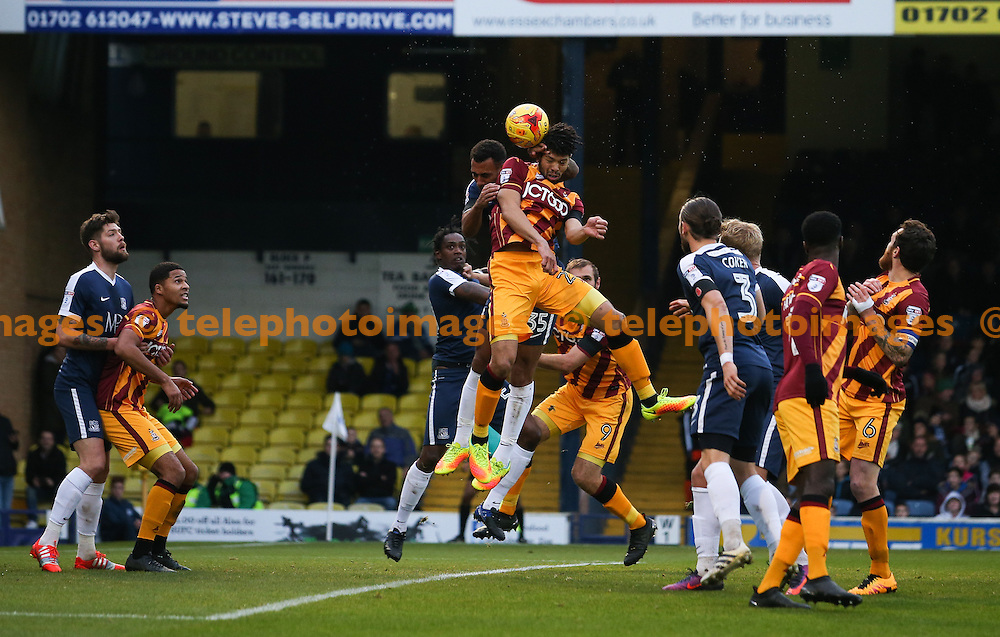 Nat Knight-Percival of Bradford City  goes up for a header during the Sky Bet League 1 match between Southend United and Bradford City at Roots Hall in Southend. November 19, 2016.<br /> Arron Gent / Telephoto Images<br /> +44 7967 642437