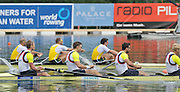 Lucerne, SWITZERLAND. GBR M4- Left to right Alex GREGORY, Peter REED, Tom JAMES and Andy TRIGGS HODGE, row through the AUS M4- to win the men's four  final at the  2012 FISA World Cup II, Lucerne Regatta.  Rotsee  Rowing Course,  Sunday  27/05/2012  [Mandatory Credit Peter Spurrier/ Intersport Images]..