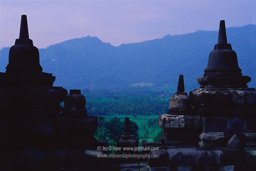 Amanjiwo Hotel seen From The Borobudur Temple, Magelang near Yogyakarta, Central Java, Indonesia.