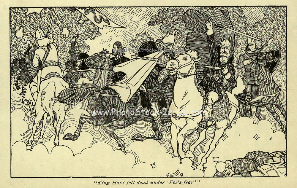 King Haki fell dead under ' Foes' -fear' From the book ' Viking tales ' by Jennie Hall, Punlished in Chicago by Rand, McNally & co in 1902