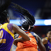 UNCASVILLE, CONNECTICUT- JULY 15:  Sisters Chiney Ogwumike #13 of the Connecticut Sun and Nneka Ogwumike #30 of the Los Angeles Sparks in action during the Los Angeles Sparks Vs Connecticut Sun, WNBA regular season game at Mohegan Sun Arena on July 15, 2016 in Uncasville, Connecticut. (Photo by Tim Clayton/Corbis via Getty Images)