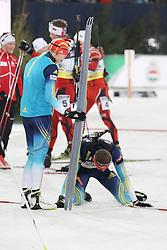28.12.2013, Veltins Arena, Gelsenkirchen, GER, IBU Biathlon, Biathlon World Team Challenge 2013, im Bild Olena Pydrushna (Ukraine), Andriy Deryzemlya (Ukraine) enttaeuscht, upset // during the IBU Biathlon World Team Challenge 2013 at the Veltins Arena in Gelsenkirchen, Germany on 2013/12/28. EXPA Pictures © 2013, PhotoCredit: EXPA/ Eibner-Pressefoto/ Schueler<br /> <br /> *****ATTENTION - OUT of GER*****