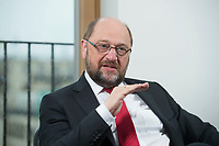 22 FEB 2016, BERLIN/GERMANY:<br /> Martin Schulz, SPD, Praesident des Europaeischen Parlamentes, waehrend einem Interview, Spiegel Hauptstadtbuero<br /> IMAGE: 20160222-01-031