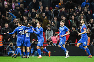 Italy Forward Lorenzo Insigne (10) celebrates scoring a goal from a penalty (1-1) after Referee Deniz Aytekin checks the VAR during the Friendly match between England and Italy at Wembley Stadium, London, England on 27 March 2018. Picture by Stephen Wright.