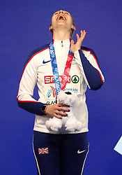 Great Britain's Holly Bradshaw celebrates winning silver at the Women's Pole Vault Final during day three of the European Indoor Athletics Championships at the Emirates Arena, Glasgow.
