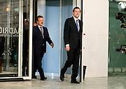 Televisive debate between Mariano Rajoy and Alfredo Perez Rubalcaba.Mariano Rajoy make the entry in the Conference Center.