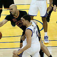 12 June 2017: Cleveland Cavaliers forward Richard Jefferson (24) vies for the ball with Golden State Warriors guard Klay Thompson (11) during the Golden State Warriors 129-120 victory over the Cleveland Cavaliers, in game 5 of the 2017 NBA Finals, at the Oracle Arena, Oakland, California, USA.